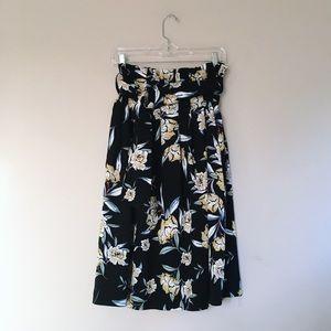 Zara | Floral Tie High Waist Midi Skirt